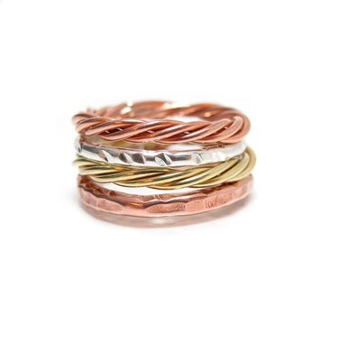 Custom Made Twisted Copper Ring - One Copper Ring -  Faux Rose  Stacking Copper Rings