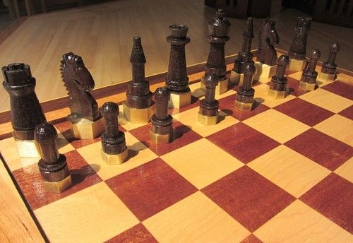 Custom Made Double Nickel Chess Ensemble