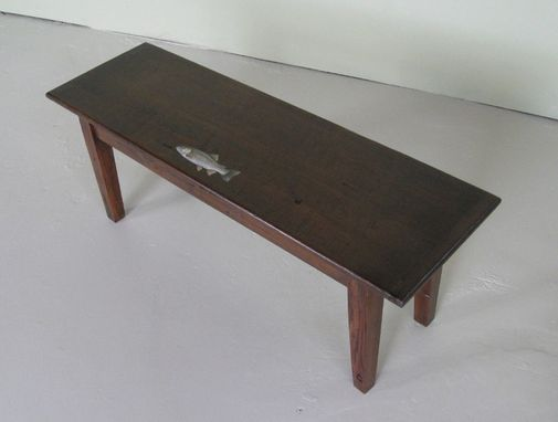 Custom Made 4' Foot Antique Walnut Bench With Fish
