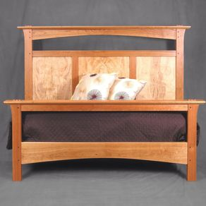 queen bed in cherry and curly maple by john landis - Cherry Bed Frame