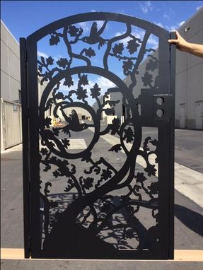 Custom Made Tree And Birds Modern Steel Iron Gate Ornamental Made In Usa