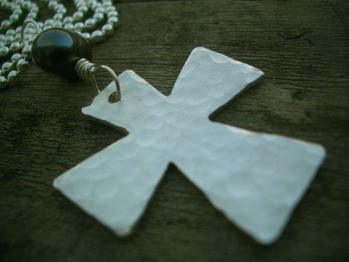 Custom Made Cross Necklace In Hand Hammered Sterling Silver