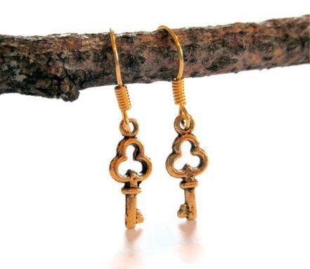 Custom Made Gold Mini Key Earrings
