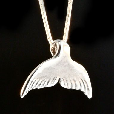Custom Made Silver Whale Tail Charm Necklace