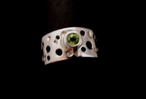 Custom Made Peridot On Sterling Silver Band Ring From The Luna Collection