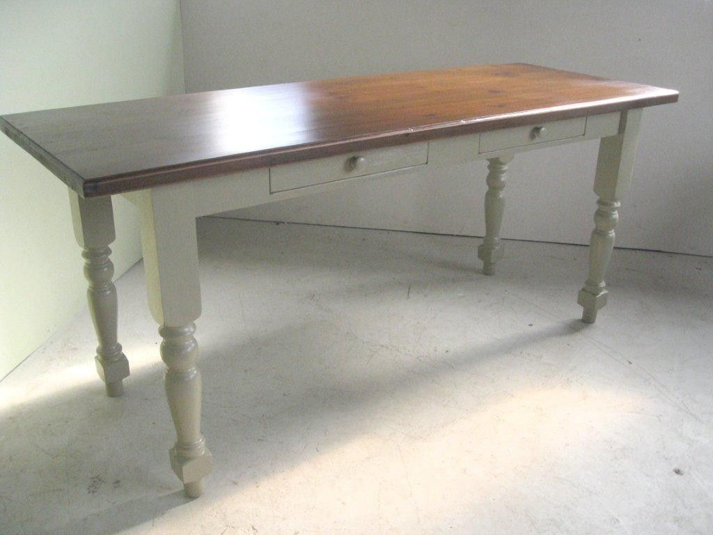 hand made coastal style kitchen table with white legs by