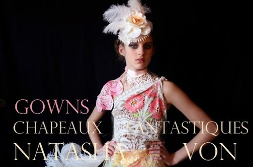 Custom Made Fantasy Hats Bridal Satin And Ostrich Chapeau