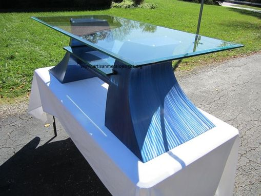 Custom Made Jazz Series Media Stand / Metal Sculpture Table / With Embedded Glass