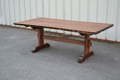 Custom Made Live Edge Walnut Extension Table With Trestle Base