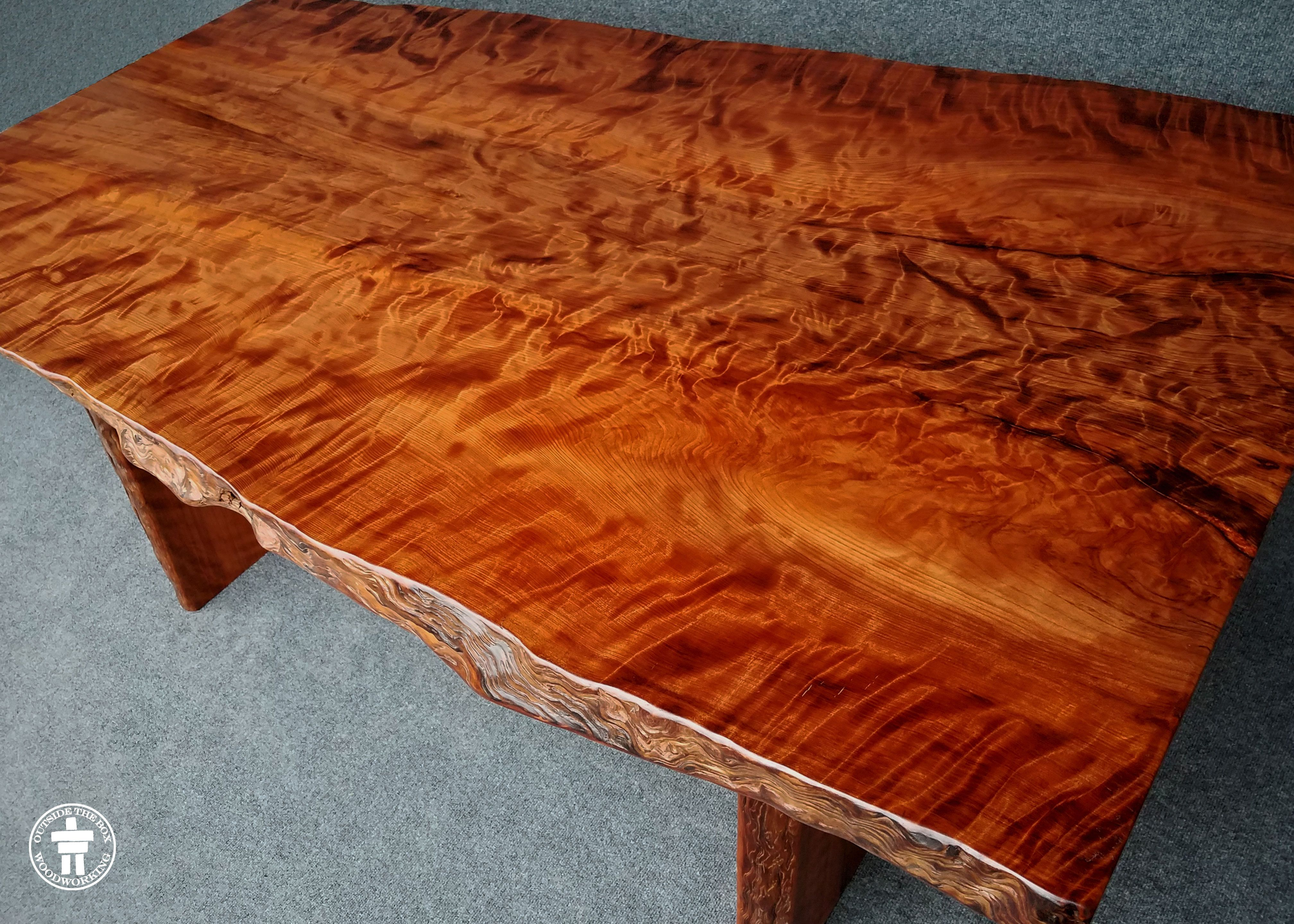 Redwood Slab Dining Table Custom Live Edge Slab Dining Tables By Outside The Box Woodworking
