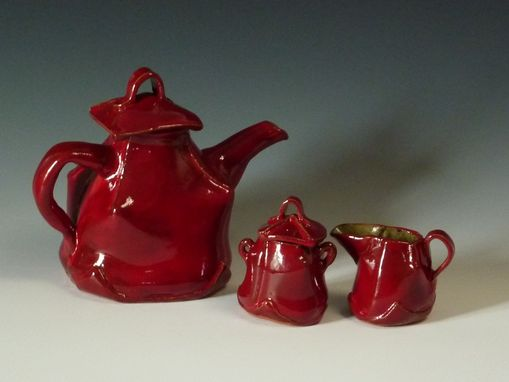 Custom Made Red Tea Pot With Creamer And Sugar