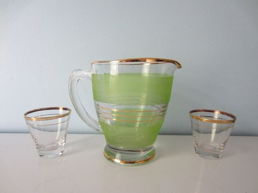 Custom Made Vintage Bar Set - Green And Gold Striped Pitcher With Matching Gold Striped Glasses