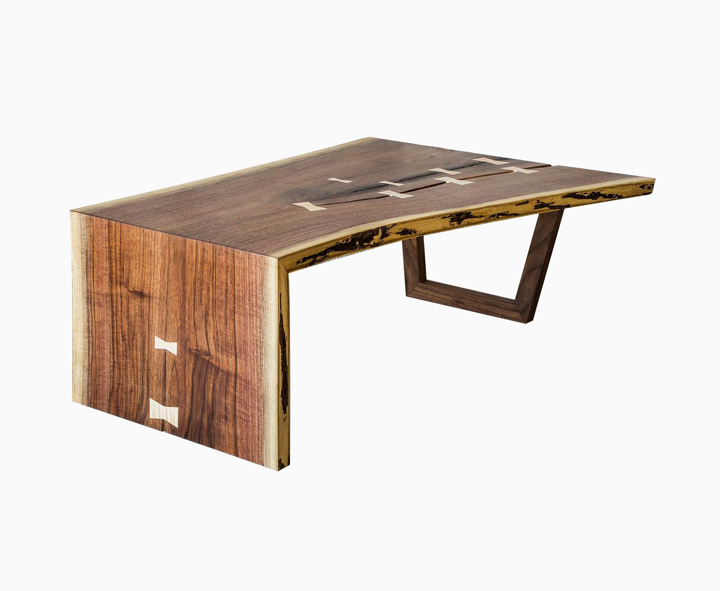 Buy a hand crafted live edge walnut waterfall coffee table made to order from the gudde company Live wood coffee table