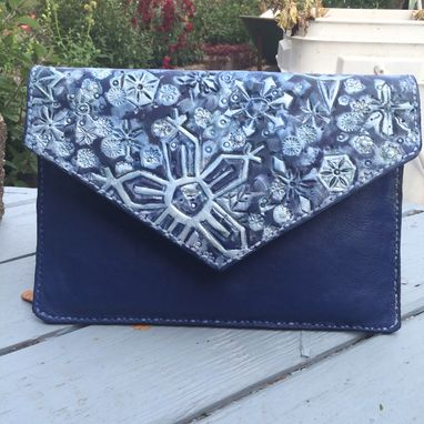 Custom Made Leather Snowflake Envelope Clutch