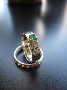 Custom Made Sterling Silver Hammered Band With Round Faceted Emerald Heidi Ring