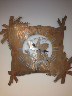 Custom Made Pheasant Clock With A Rustic Copper Finish