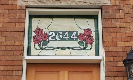 Custom Made Stained Glass Address Marker - Opal Roses (Am-181)