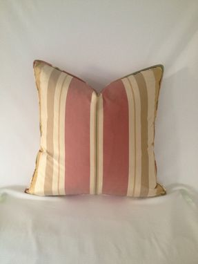 Custom Made Set Of 2: Red And Gold Stripped Silk Pillow Covers