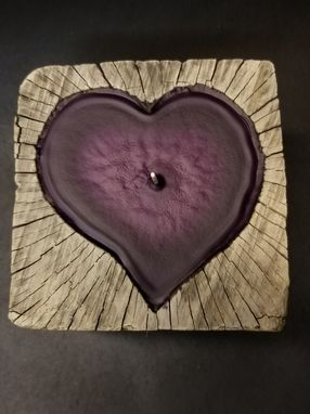 Custom Made Reclaimed Wood Heart Candle