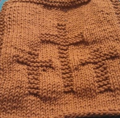 Custom Made Three Crosses Knitted Cotton Cloth In Brown For Kitchen, Bathroom, And More