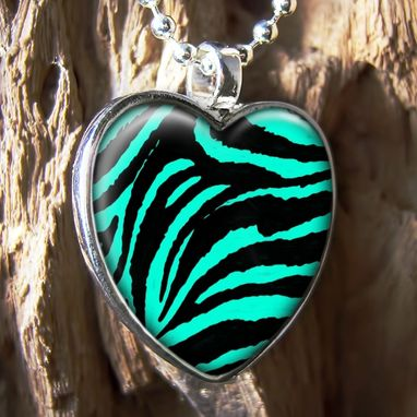 Custom Made Zebra Animal Print Sterling Silver Heart Necklace 209-Shn