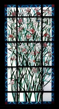 Custom Made Stained Glass Window - Day Lily