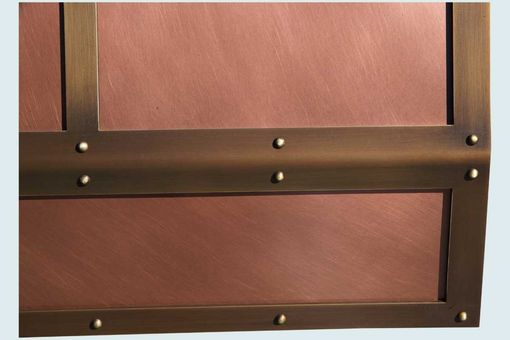 Custom Made Copper Range Hood With Brass Straps