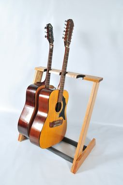 Custom Made 3 Space Red Oak Folding Guitar Stand For Acoustic Guitars