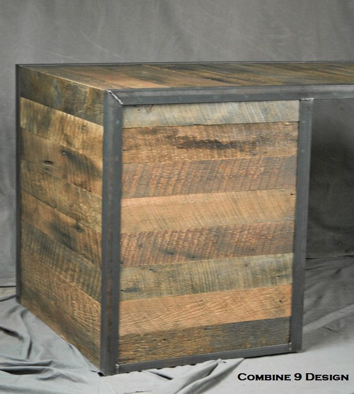 A Handmade Reclaimed Wood Desk With File Cabinet Drawers Rustic Office Furniture Filing Made To Order From Combine 9 Custommade Com