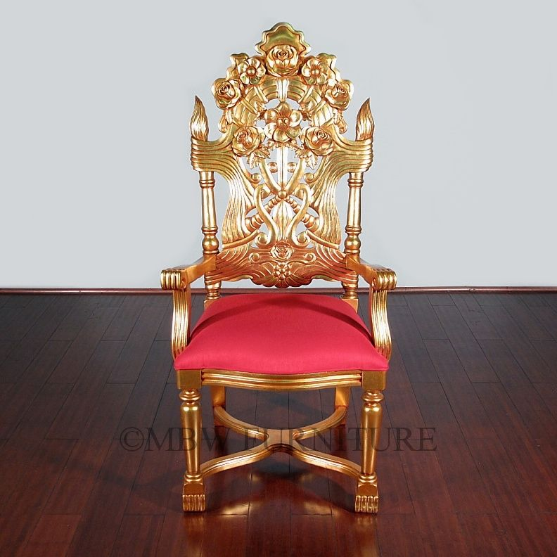 Custom Made Solid Gany Gold French Rococo Dining Arm Chair