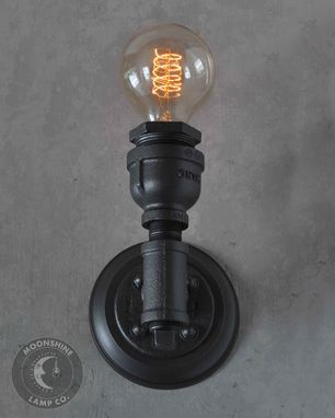 Custom Made Industrial Water Pipe Wall Sconce With Edison Bulb And Customizable Finish - Modern Rustic Lighting