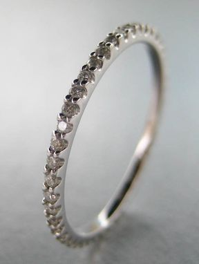 Custom Made Eternity Diamond Ring. 14k White Gold.