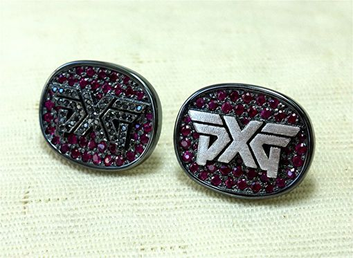 Custom Made 14k Blackened Pxg Logo Earring With Ruby And Black Diamond