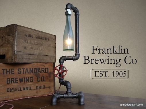 Custom Made Industrial Desk Lamp - Historic Beer Bottle- Faucet Switch - Iron Pipe