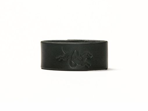 Custom Made Leather Cuff - Black Latigo - Ebony & Brass Fasteners - 1 Inch Wide