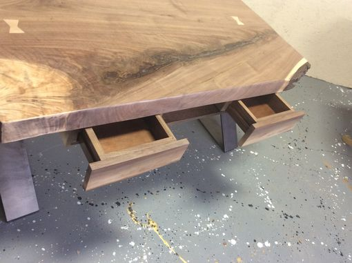 Custom Made Walnut Coffee Table With Drawers And Flat Steel X Base