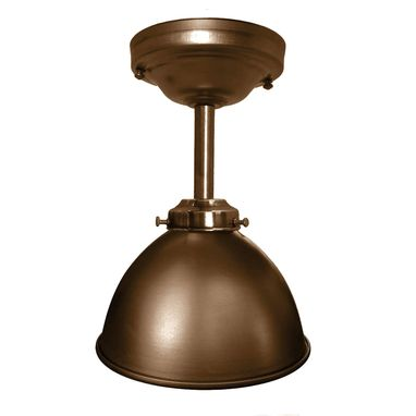 "Custom Made Dome 7"" Metal Shade Pendant Light- Bronze Downrod"