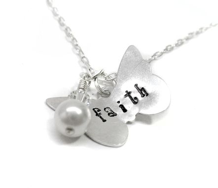 Custom Made Faith - Sterling Silver Butterfly And Pearl Necklace, Hand Stamped, Customizablke On Sterling Chain