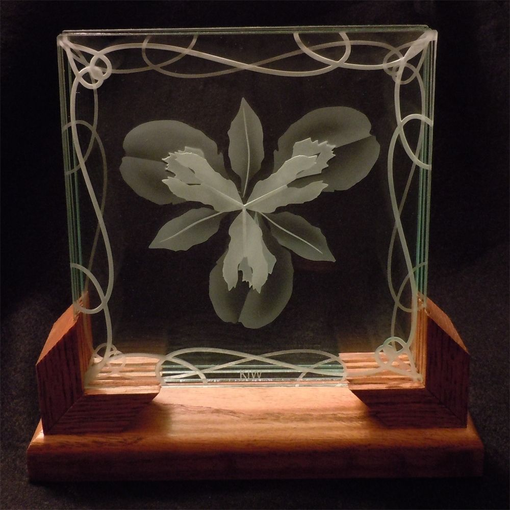 3d Layered Decorative Art Display Iris Flower Etched Glass With Wood Stand