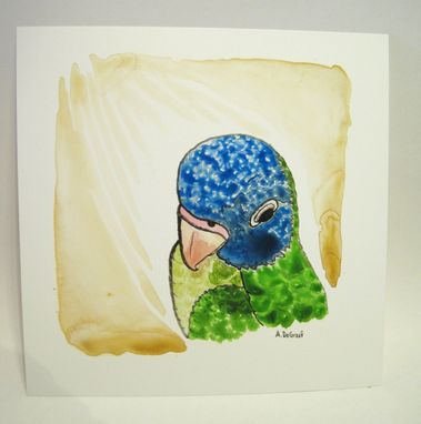 "Custom Made ""Blue Crown Conure"" Watercolor Painting"