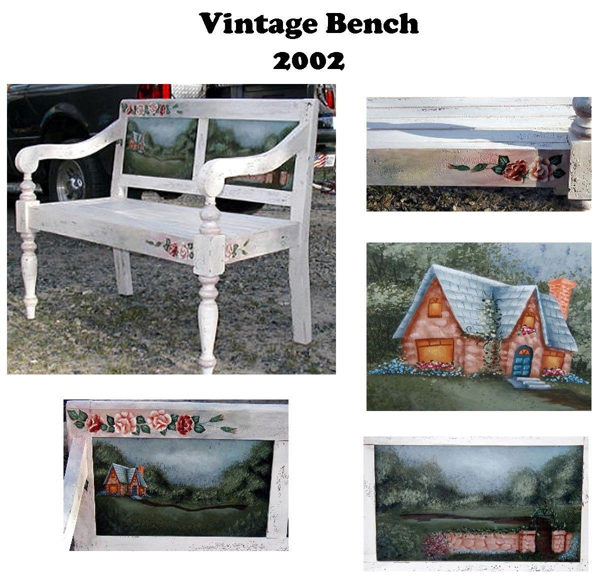 Custom Made Vintage Shabby Chic Garden Bench Acrylic