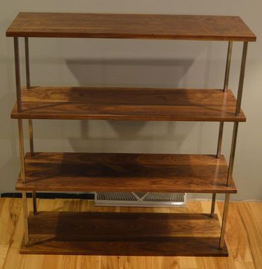 Custom Made Walnut And Steel Bookcase
