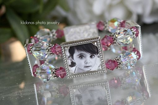 Custom Made Custom Photo Bracelet, Beaded Bracelet, Crystal Bracelet, Gift For Mom
