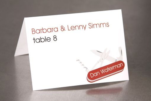Custom Made Place Cards - Swiss Army Style Knife - Escort Cards Custom Designed