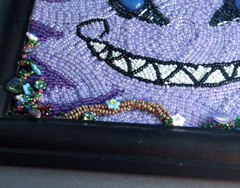 Custom Made Bead Embroidered Cheshire Cat Painting