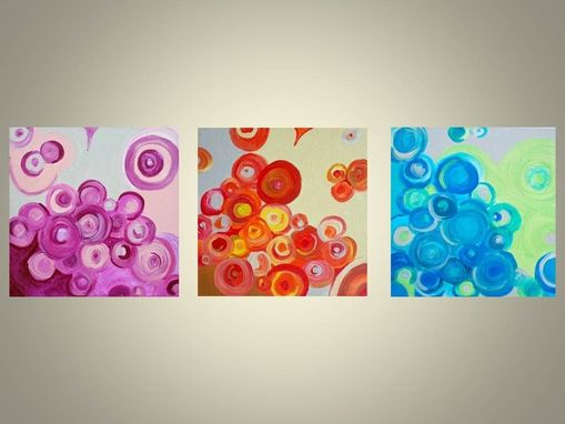 "Custom Made Original Abstract Modern Art Circles-12""X12"" Title-Going In Circles Rose Devikasart"