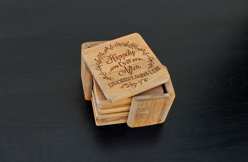 Custom Made Custom Bamboo Coasters, Custom Engraved Coasters --Cst-Bam-Happily Ever After