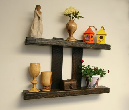 Custom Made Decorative Rustic Modern Wall Floating Shelf In Reclaimed Distressed Ebony Stained Wood