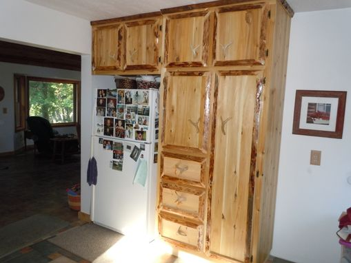 Hand Made Custom Rustic Cedar Kitchen Cabinets Live Edge By King Of The Forest Furniture Custommade Com