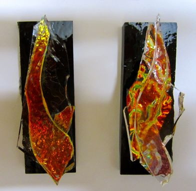Custom Made Fused Glass Pins - Divine Flame